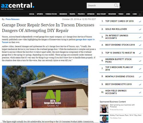 AJ's Garage Door Repair of Tucson in the News